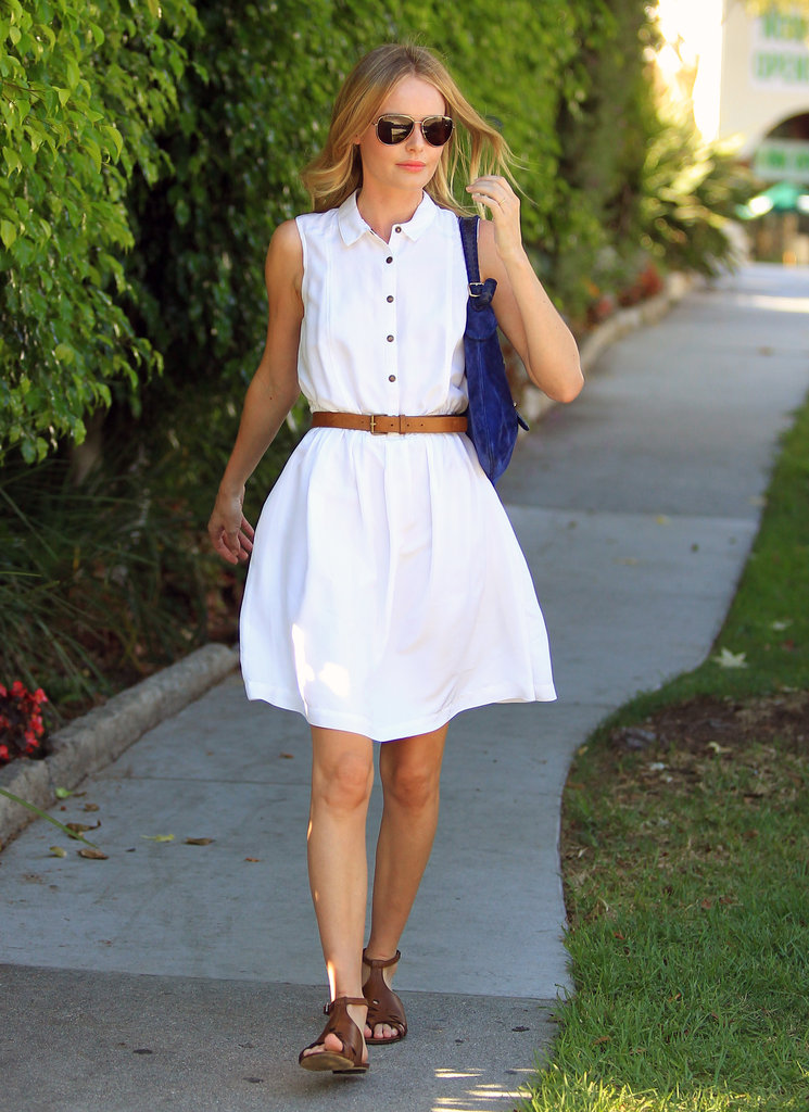 Kate Bosworth showed off her figure in a white dress.