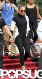 Jennifer Lopez wore a black turtleneck for a day of traveling.