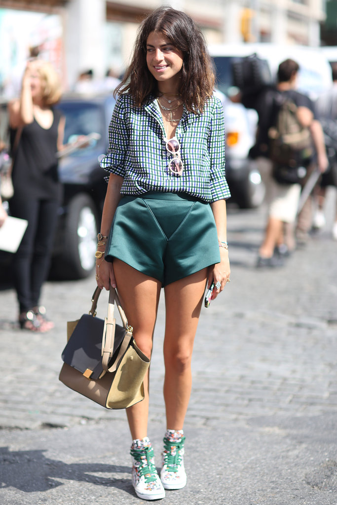 Leandra Medine gave statement shorts an athletic edge with sneakers. Source: Greg Kessler