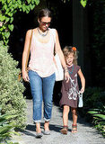 Jessica Alba and Honor Warren walked out of a salon in LA.