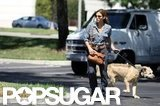Eva Mendes walked Ryan Gosling's dog, George, in LA.
