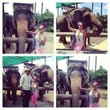 La La and Carmelo Anthony went trekking with elephants in Thailand. Source: Instagram user lala