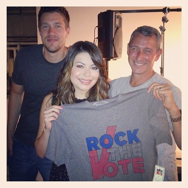 Adam Shankman filmed a Rock the Vote commercial with Scott Speer and Miranda Cosgrove. Source: Instagram user adamshankman