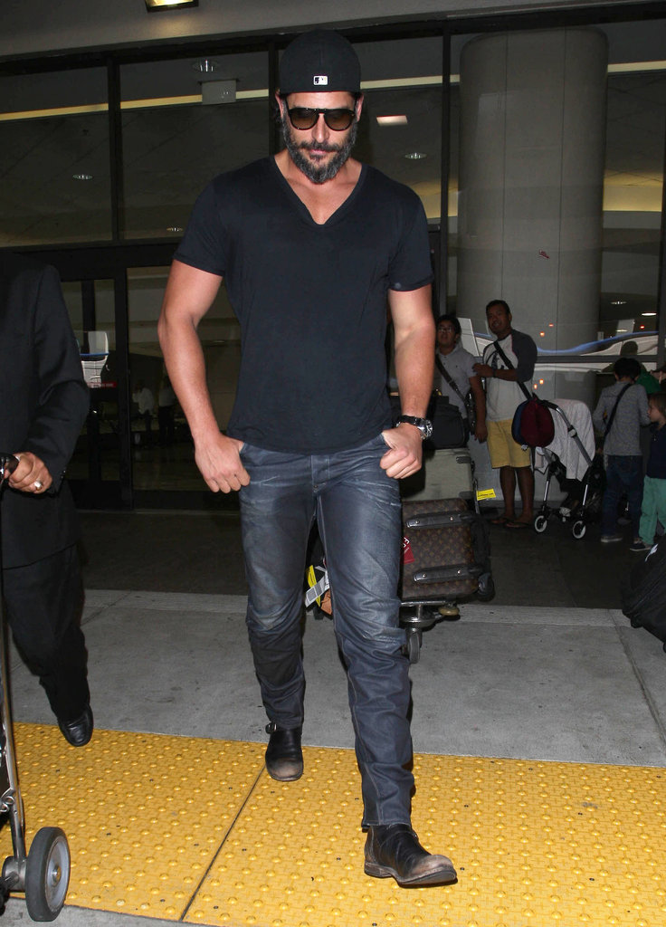 Joe Manganiello exited the airport.