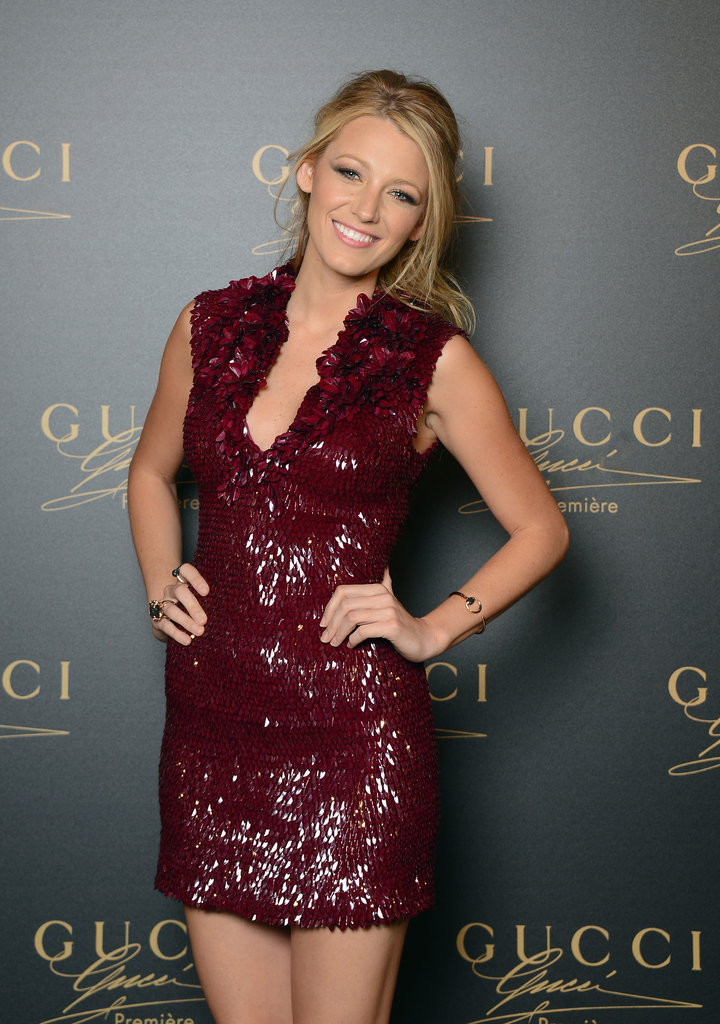 A closer look at Blake's ultraembellished Gucci Premiere number — not to mention, check out that plunging neckline!