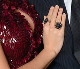 Blake's jewels aren't over-the-top, but their decadence speaks to the opulence of her sequin and embellished dress.