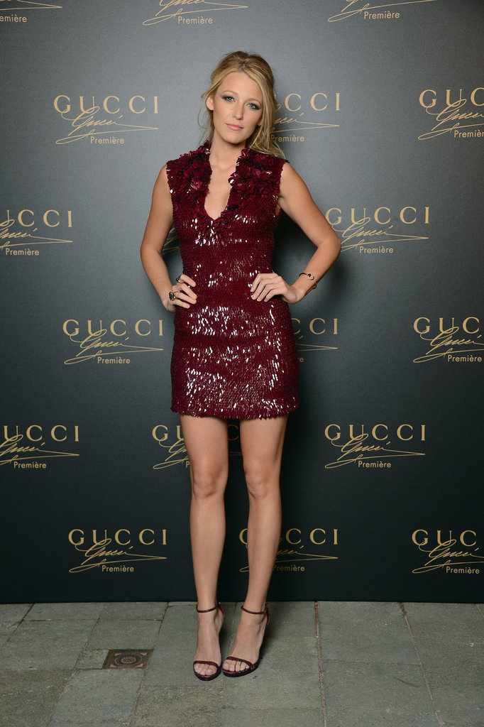 The Gucci dress showed off Blake's best assets — the thigh-high hemline was perfect for showing off her stems with a coordinating pair of  Gucci ankle-straps.