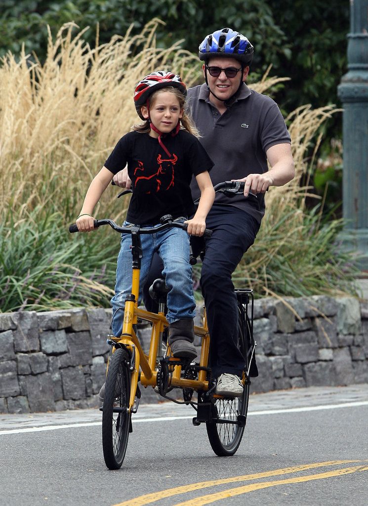 Matthew Broderick and son James Wilkie shared a bike for a ride around NYC.