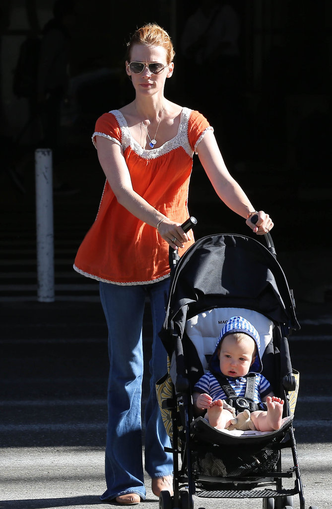 January Jones took her little man, Xander, for a stroll around LA on Saturday.