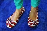 A woman donned red, white, and blue shoes at the DNC.