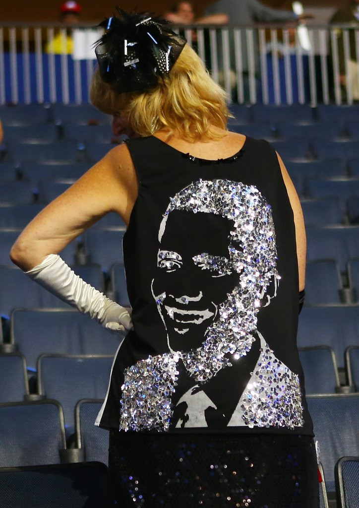 Even the back of this attendee's shirt was decorated with a sparkly Obama face.