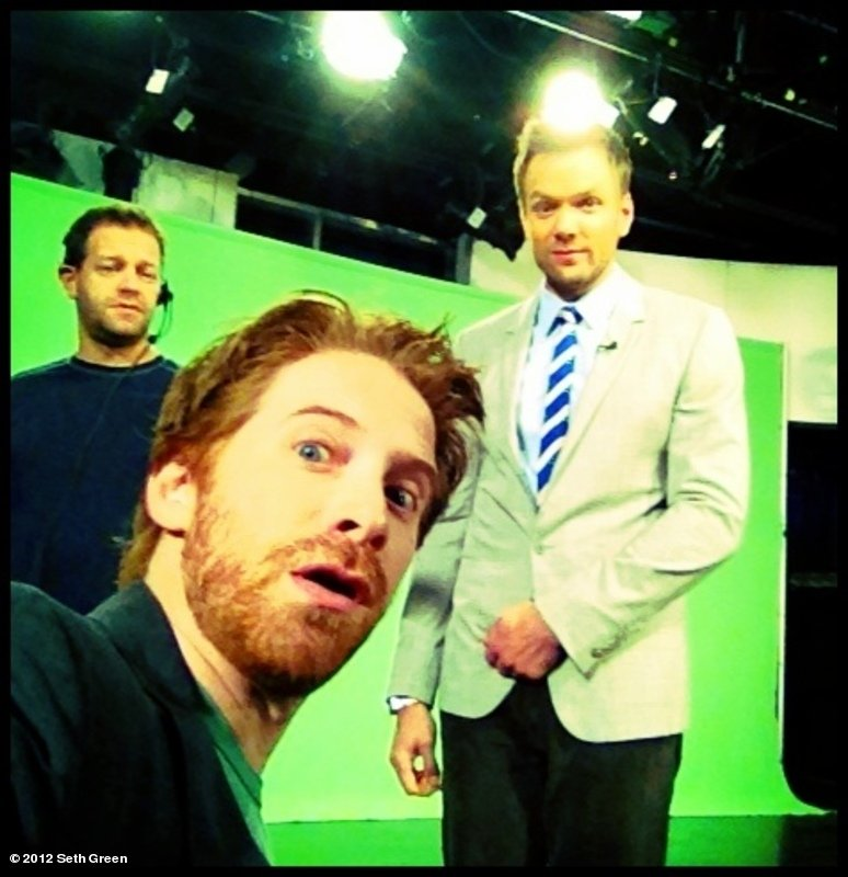 Seth Green clowned around on the set of The Soup with Joel McHale. Source: Seth Green on WhoSay