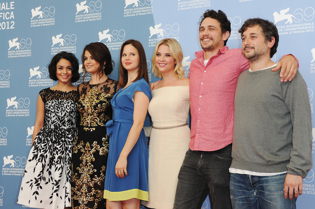 Selena Gomez, Vanessa Hudgens, Rachel Korine, Ashley Benson, James Franco, and Harmony Korine linked up in Venice for the Spring Breakers photocall.
