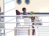 Jay-Z spent time with Blue on a yacht.