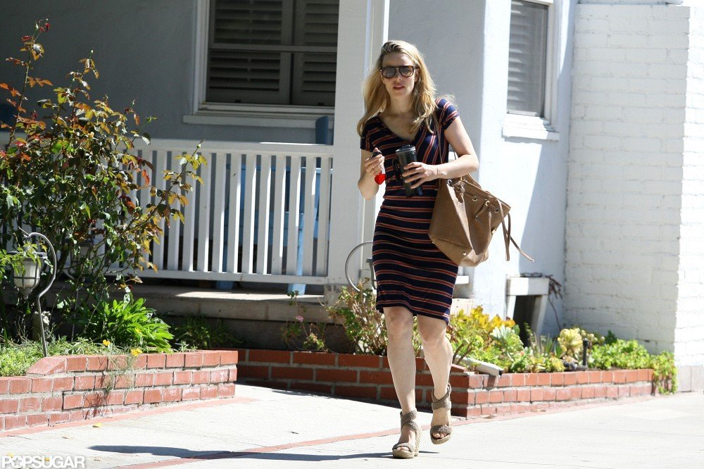 Rachel McAdams wore a striped dress in LA.