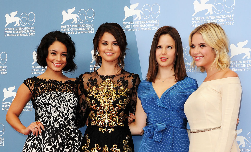 Selena Gomez, Vanessa Hudgens, Rachel Korine, and Ashley Benson posed together for the Spring Breakers photocall at the Venice Film Festival.