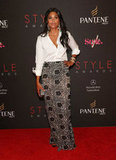 Rachel Roy paired a classic white button-down with a more dramatic, embellished maxi for a night at the Style Awards.