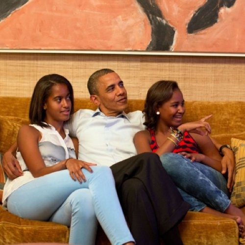 Obama Family Watches 2012 National Democratic Convention