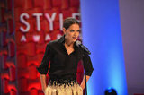 Katie Holmes spoke on stage at the Style Awards.