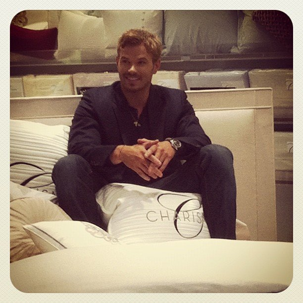 Kellan Lutz set up shop in the linens department of Bloomingdale's in NYC.  Source: Instagram user bloomingdales