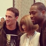 Anna Wintour happily posed with athletes Ryan Lochte and Dwyane Wade during Fashion's Night Out. Source: Instagram user dwyanewade
