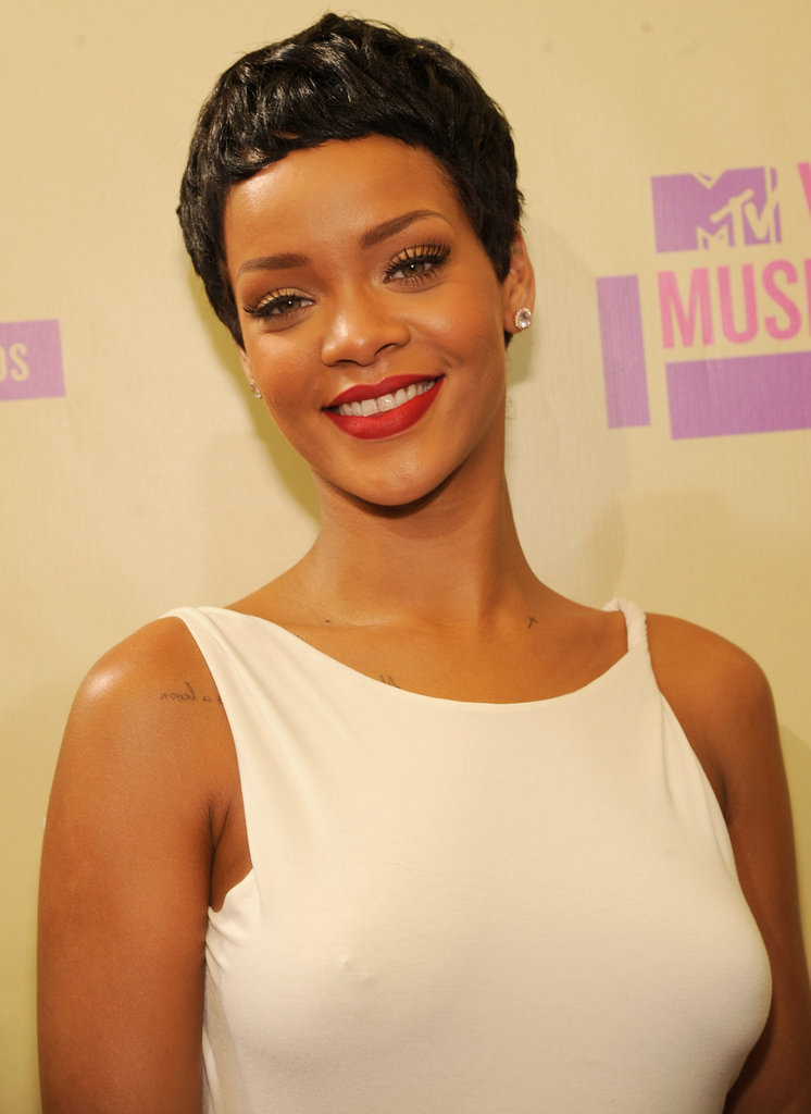 Rihanna was all smiles on the red carpet.