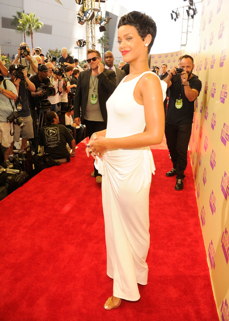 Rihanna faced the cameras on the red carpet.