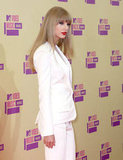 Taylor Swift wore a white suit at the VMAs.