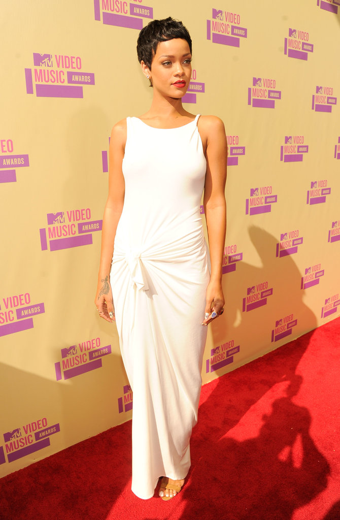 Rihanna arrived looking stylish in white.