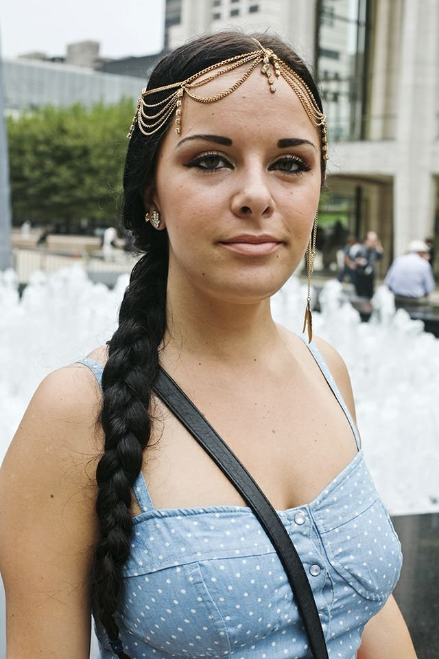 An Egyptian-like headpiece was the perfect complement to this girl's ropelike braid. Photo by Caroline Voagen Nelson