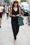 Fashionologie's Christina Pérez showed off a jumpsuit and her trusty Phillip Lim Pashli. Source: Greg Kessler