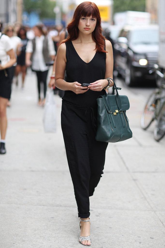 Fashionologie's Christina Perez showed off a jumpsuit and her trusty Phillip Lim Pashli. Source: Greg Kessler