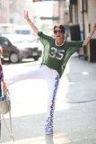 Leandra Medine showed off her printed pants and sporty Isabel Marant tee.