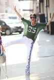 Leandra Medine showed off her printed pants and sporty Isabel Marant tee. Source: Greg Kessler