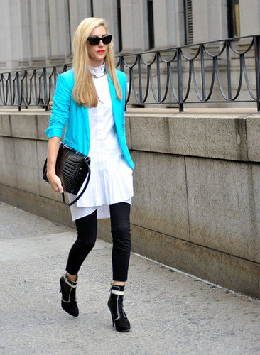 Joanna Hillman made the rounds in a bold, blue blazer.