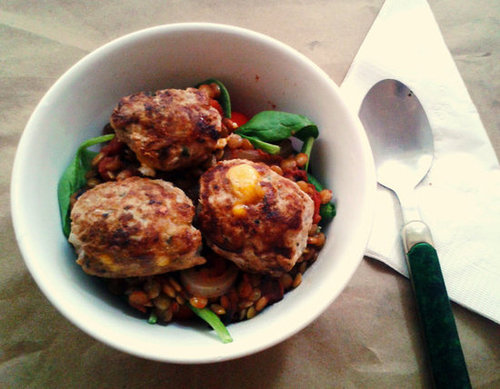 Turkey Meatballs stuffed with Cheddar Cheese