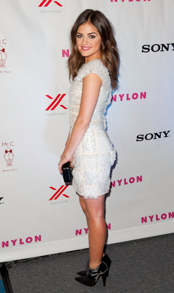 Lucy Hale gave an over-the-shoulder pose.