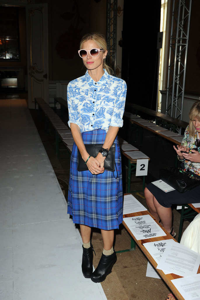 Laura Bailey wore the same ensemble for the Fashion East show.