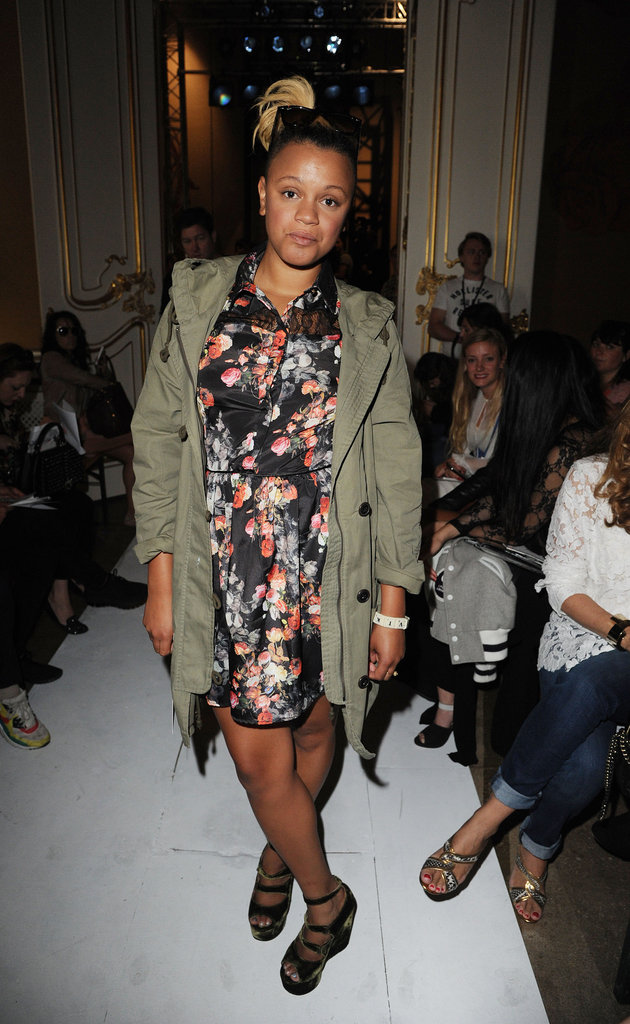 Gemma Cairney wore a coat over her floral dress at Fashion East.