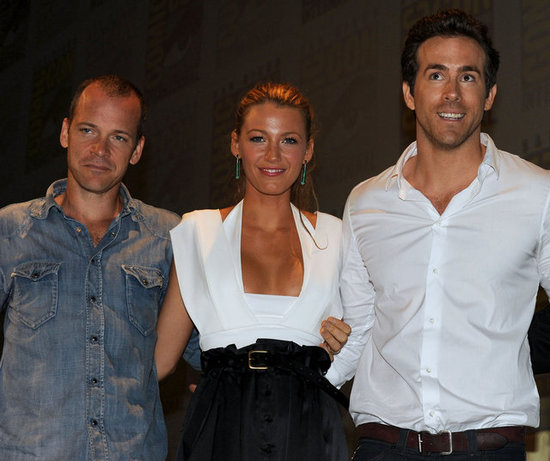Blake Lively and Ryan Reynolds posed with their Green Lantern costar Peter Sarsgaard at Comic-Con in San Diego in July 2010.