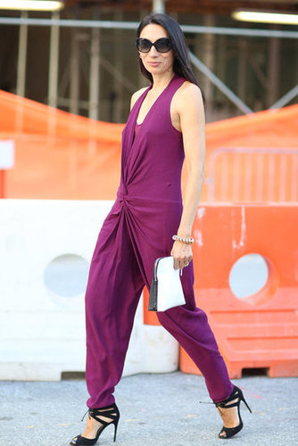 A bold jumpsuit and lace-up heels were the wow factors in this look. Source: Greg Kessler
