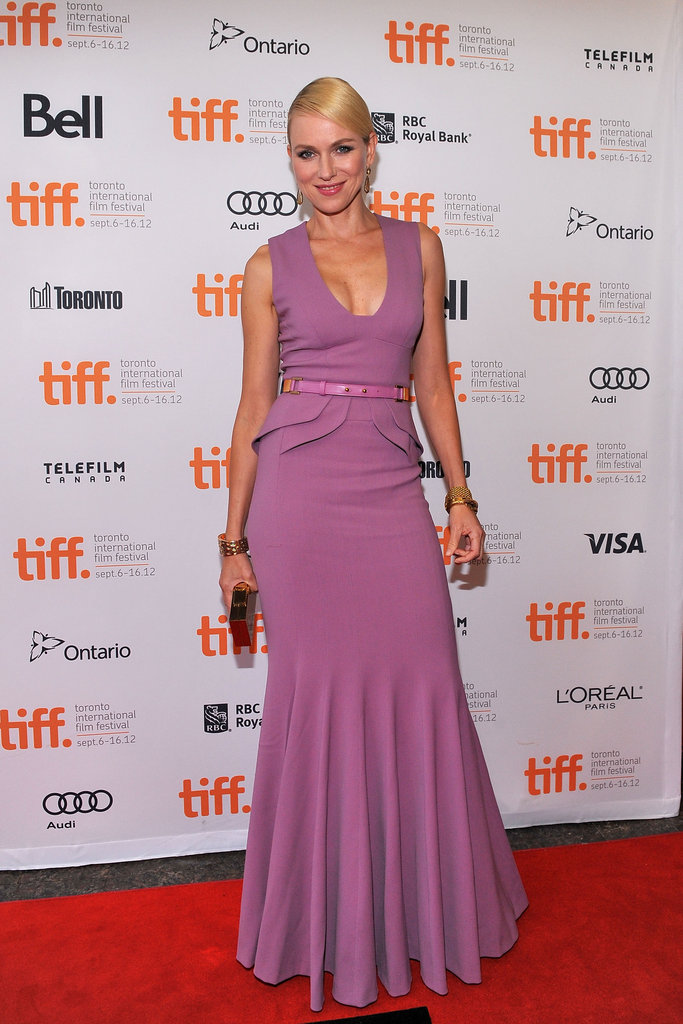 Naomi Watts was a vision in pinky lilac, thanks to a peplum-edged floor-length Elie Saab gown she wore to The Impossible's premiere.