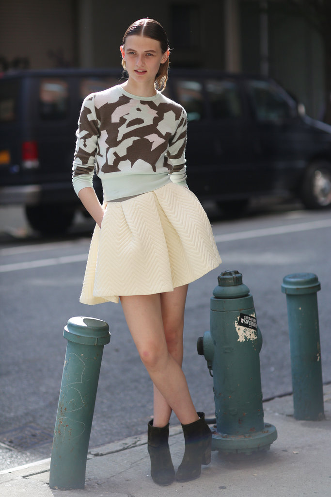 Bold print meets pastel hues in this girlie-cum-cool look. Source: Greg Kessler