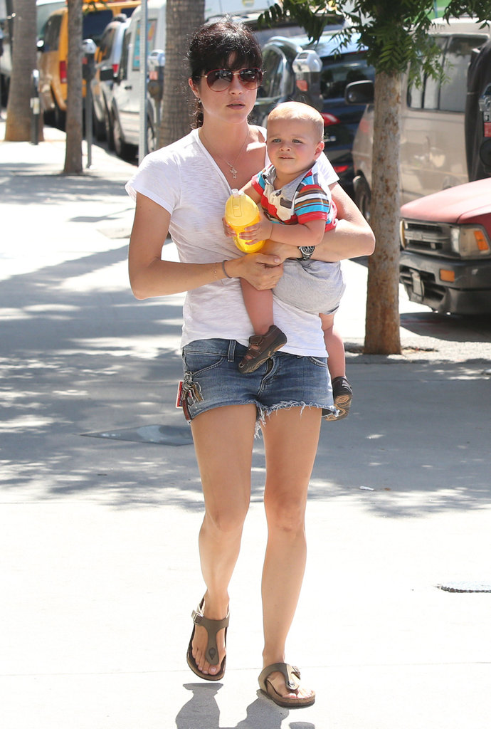 Selma Blair brought Arthur along to the farmers market in LA.