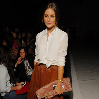 Olivia Palermo Wearing Brown Skirt at New York Fashion Week