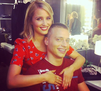 Dianna Agron hung out with her brother on set. Source: Twitter user DiannaAgron