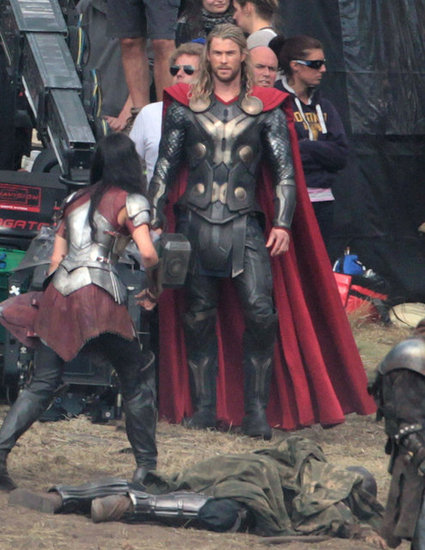 Chris Hemsworth and Jaimie Alexander on the set of Thor: The Dark World.