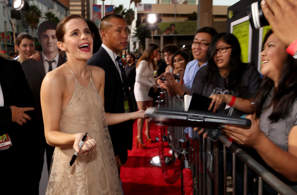 Emma Watson had a laugh on the red carpet at the LA premiere of The Perks of Being a Wallflower.