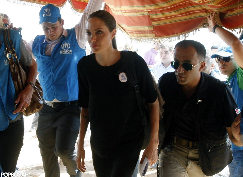 Angelina Jolie entered the Al Zaatari refugee camp in Jordan.