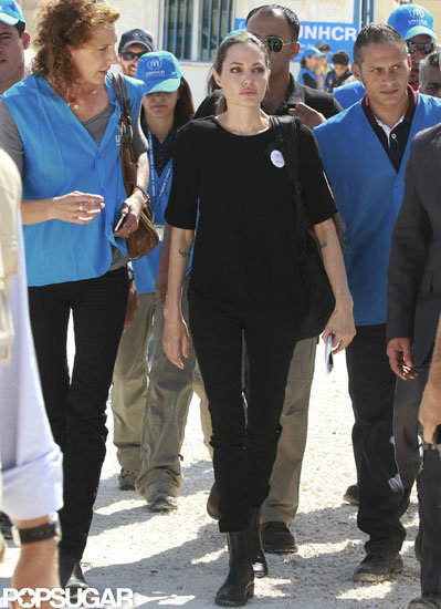 Angelina Jolie arrived at the Al Zaatari refugee camp in Jordan wearing an all-black ensemble.